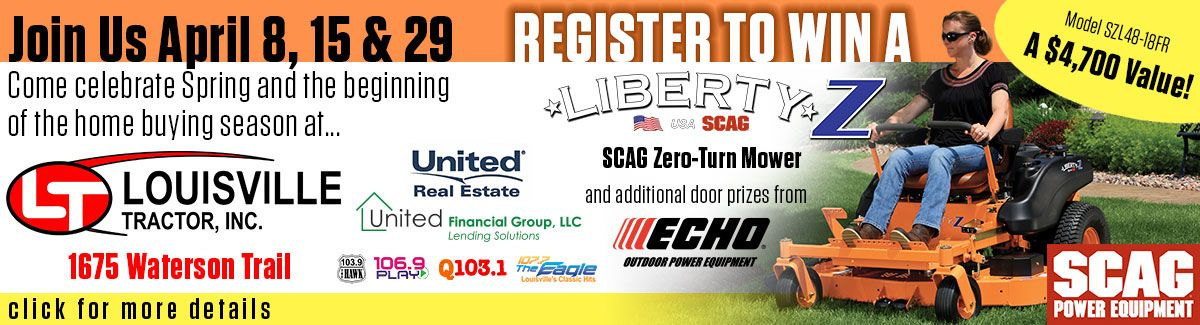 Win a new Scag Liberty Z from Louisville Tractor on April 29, 2017.